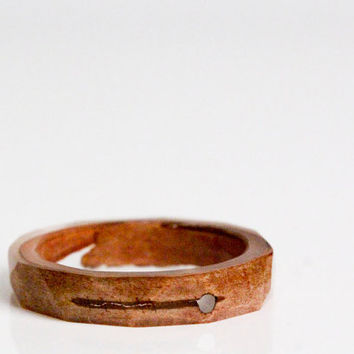 birch bark size 7.5 thin multifaceted eco resin ring