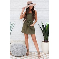 Can't Go Wrong Overall Dress (Olive)
