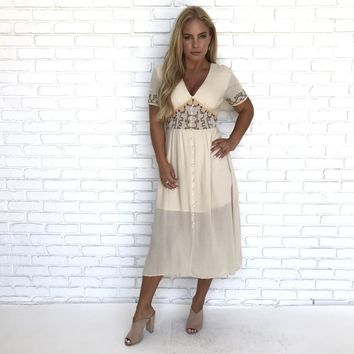 Andrea Taupe Maxi Dress
