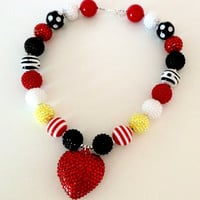 FREE SHIPPING -  Minnie Mouse Red, Yellow, and Black Chunky Bubblegum Necklace with Pendant