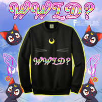 What Would Luna Do Sailor Moon Religious Luna Cat Sweatshirt // GRUNGE // fASHLIN