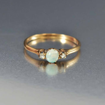 Victorian Antique Gold Rose Cut Diamond Opal Ring