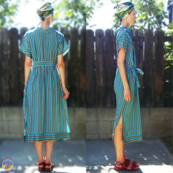 70s Medium Retro Beach Chic Silk Stripe Kaftan Dress / Roll Collar & Broach / Spring Dress / Shift Dress / Mod Dress / Resort Dress
