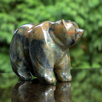 Soapstone sculpture Bear carving hand crafted stone figurine collectible statue