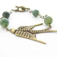 Bird Fashion Bracelet Brass Chain & Moss Agate by MoonlightShimmer