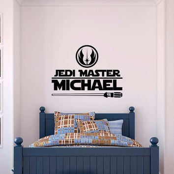 Wall Decal Star Wars Personalized Name Jedi Master Wall Decals For Boys, Star Wars Name Decal Quote Kids Boys Teens Room Nursery Decor Q190