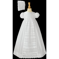 Venice Lace on 100% Cotton Christening Gown Baby Girls 0-12M
