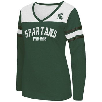 Michigan State Spartans Women's Player TC V-Neck Long Sleeve T-Shirt – Green