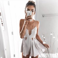 SIMMI CUTOUT ACCENT ROMPER - GREY