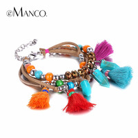 eManco bohemia charm bracelets for women crystal bead tassel bracelets & bangles multi color bracelet wristband jewelry