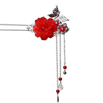 1Pcs Butterfly Flower Vintage Silver Hairpin Headdress Handmade Wedding jewelry Chinese Style