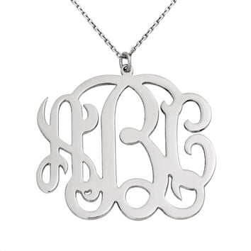 Font style monogram necklace, white rhodium plated silver monogram necklace with 40cm, 45cm, 50cm silver chain options and 0.7mm thickness