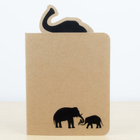 Elephant Silhouette Notebook - Small notebook, Stationery, Journal, Notepad, Notebook journal, Cute notebook, Elephant gifts, Cute animals