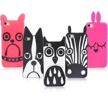 Cute 3D Cartoon Animal Design Love Dog/Zebra/Owl/Rabbit/ Dog Soft Silicone For iPhone 7 7 plus iPhone 5 5s 5G case Phone Cases