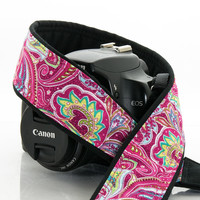 057 Camera Strap Hot Pink Paisley dslr slr
