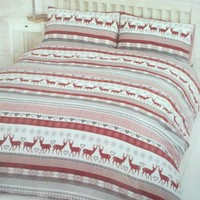 NEW CHRISTMAS XMAS RED NORDIC STAG/ REINDEER DOUBLE BED DUVET SET QUILT COVER