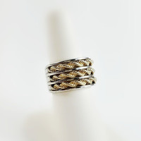 Wide Sterling Ring - 14K Gold Rope Ring - Silver and Gold Ring Size 6.50 - Wide Band Sterling Ring - Gold Accented Sterling Ring