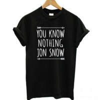 Fashion you know nothing jon snow Round Neck Short Sleeve T shirt