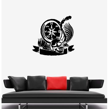 Wall Decal Skull Sea Ocean Compass Pirates Decor Vinyl Sticker (ed1305)