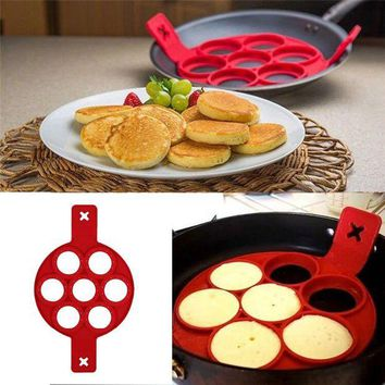 ONETOW 7 Holes Silicone Pancake Baking Mold Cake Molds Frying Egg Tools Muffin Maker