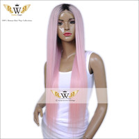 7A Ombre Pink Straight Full Lace Human Hair Wigs Fashion Pink Color Glueless Ombre Lace Front Wigs For Women