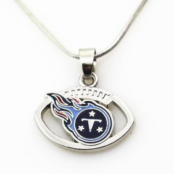 Hot Selling 10pcs/lot Amercia Football Tennessee Titans Necklace With 50cm Chains Necklace Jewelry Pendants Sport Fun necklace