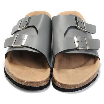 Birkenstock Leather Cork Flats Shoes Women Men Casual Sandals Shoes Soft Footbed Slippers-191