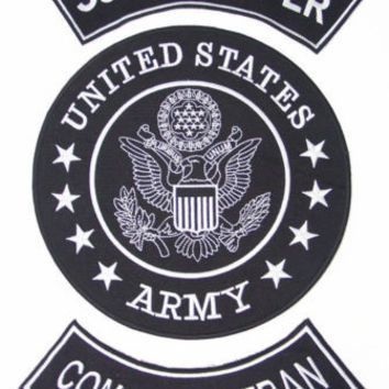 US ARMY SCOUT SNIPER COMBAT VETERAN PATCHES SET FOR BIKER MOTORCYCLE VEST JACKET
