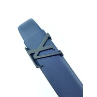 LV 2019 new men and women personality retro smooth buckle belt Blue