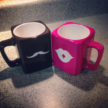His & Hers Engraved Mustache and Lips Coffee Mugs