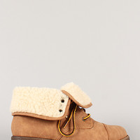 Qupid Seattle-15 Shearling cuff Lace Up Bootie