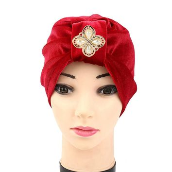 New Arrival 1PC Women Velvet Diamonds Muslim Ruffle Cancer Chemo Hat Beanie Scarf Turban Head Wrap Cap