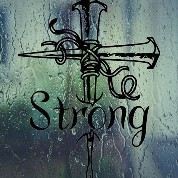 Strong (Text in Bible Cross) Vinyl Wall Decal - Permanent Sticker
