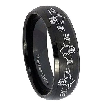 10mm Irish Claddagh Dome Brush Black Tungsten Carbide Men's Promise Rings