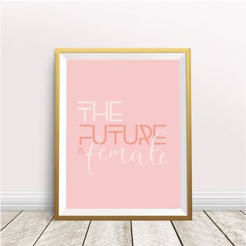 Feminist Wall Art, The Future is Female Poster in Millennial Pink | Empowering Nursery Decor