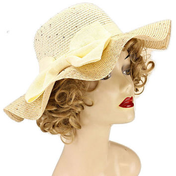 Womens Bow Woven Straw Floppy Wide Brim Beach Sun Hat Straw Summer Hat - Ivory & Beige