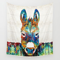 Colorful Donkey Art - Mr. Personality - By Sharon Cummings Wall Tapestry by Sharon Cummings