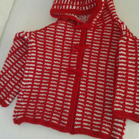 Red hooded cardigan, knitting, cotton or wool