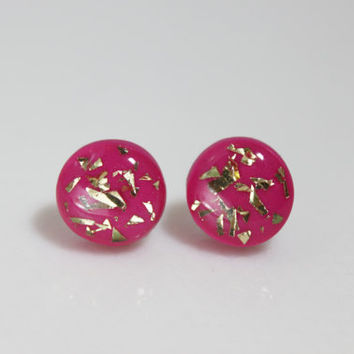 Pink and Gold Earrings, Hypoallergenic Earrings, Polymer Clay Jewelry, Gifts for Her Fashion Jewelry
