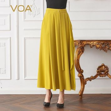 yellow plus size casual women pleated maxi skirt mid waist  solid heavy silk long skirt cla02901