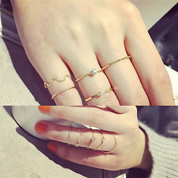 5Pcs\set Women's Cute Bright Rhinestone Middle Knuckle Finger Joint Rings BD