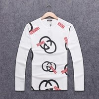 GUCCI 2018 autumn and winter new wild loose men's long-sleeved round neck sweater White