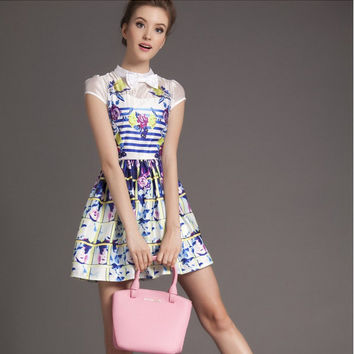 White Floral And Pattern Print Bow Short-Sleeve Dress