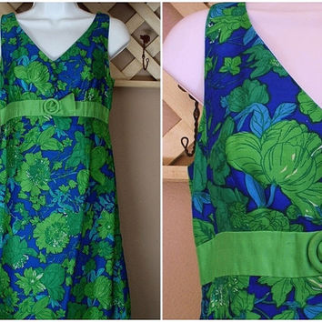 SIXTIES Vintage Shantung SILK Dress COCKTAIL Party Blue Green Flower Saks Fifth Avenue Extra Small c.1960's