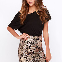 Chrysanthemum Black and Gold Sequin Skirt