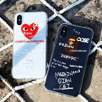 COMME DES GARÇONS PLAY BAPE AAPE Stylish Individual Phone Case iphon X iphone 7/8plus All-inclusive Transparent Soft Shell 6/6s For Men Women I12487-1