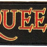 Queen Iron-On Patch Rectangle Letters Logo