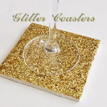 Drink Coaster, Gold Glitter Handmade Ceramic Tile Coasters, Sparkly Holiday Decor, Christmas Decor or Gifts, Wedding Party Favors