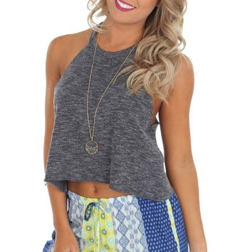 Terry Crop Tank Charcoal
