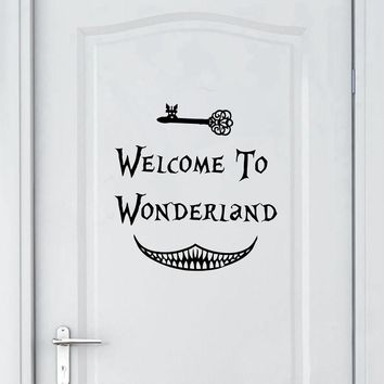 Alice in Wonderland Wall Sticker Art Decor Welcome To Alice in Wonderland Wall Decals Kids Room Wall Door Decoration